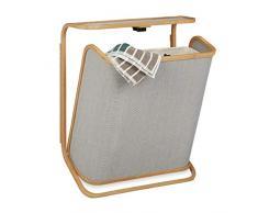 Relaxdays Cesto de Colada para Colgar en la Pared, Bambú, Gris, 67 x 53.5 x 21 cm
