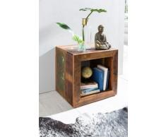 Wohnling Mesa Auxiliar Shabby Chic Reciclado Mango Maciza de Madera Estante Mesa, marrón, 45 x 45 x 35 cm