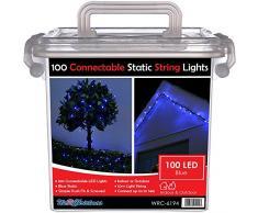 WeRChristmas 100 conectable estática LED cadena luces con 2 pines macho y conector hembra, 10 m), color azul