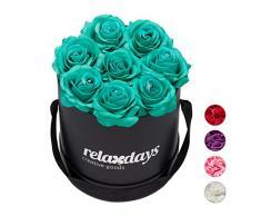 Relaxdays Rosas Artificiales, Caja de Flores Negra, 8 Unidades, Ramo Decorativo, Flower Box, Cartón-Tela-PP, Turquesa