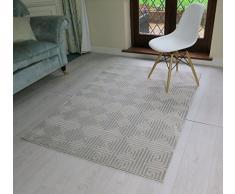 Aspecto 120 x 170 cm polipropileno Puzzle alfombra de tacto suave, crema/gris