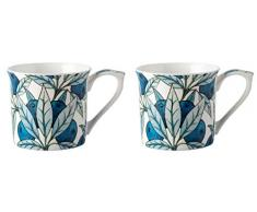 V&A V&A - Set de Tazas con diseño de Frutas en Caja de Regalo, Porcelana, Azul, Juego de 2
