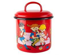 Pippi Longstocking 1,3 litros de preparación de café esmalte tarro con tapa, rojo