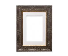 Memory Box Marco de pósteres y Fotos de Madera de Nogal con Montura Blanca, tamaño A4 de 9 x 6 Pulgadas, con plexiglás irrompible de estireno para una Mayor claridad.