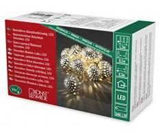 Konstsmide LED guirnalda, gran árbol de Navidad bolas de metal, 10 diodos de luz blanca cálida, funciona con pilas, interior, 3 x AA 1,5 V exklusive, cable transparente 3157-303