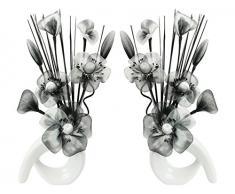 Flourish Diseño de flores de 794699 32 cm a juego Mini de remolino de flores artificiales en jarrón, negro/blanco