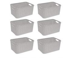 BranQ - Home essential Cesta en Rattan Design 6er Set, plástico PP, Crema, 38x27,8x18,5 cm (LxBxH)