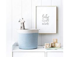 Kenay Home - Cesto Ropa Organizador Infantil Rise, Algodón, Azul, 27x25x27cm (WxHxD)