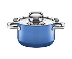 Silit 2102299479 Nature - Olla (Diámetro 16 cm Alto (aprox. 2 l Función Tapa Control Lid Tapa de Metal Silargan Función cerámica inducción apto para lavavajillas, esmaltado, color azul
