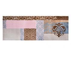 Alfombrilla LifeStyle 101090 Barroco, felpudo antideslizante y lavable, ideal para el armario, la cocina o el dormitorio, 67 x 170 cm, marrón / rosa