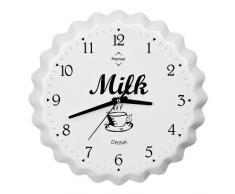 Premier Housewares 2200629 - Reloj de Pared analógico con diseño de tapón de Botella de Leche (Aluminio, 39 x 39 x 5 cm), Color Blanco