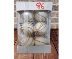 SHATCHI - 12 Bolas de Navidad Colgantes de Espuma Suave con Purpurina inastillable para decoración de Mesa de árbol de Navidad, Color Blanco, 4 cm