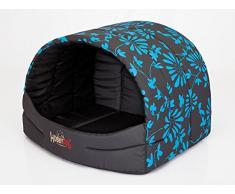 HOBBYDOG prompter perro cama, tamaño 4, Negro/Azul Flores Print