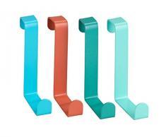 Wenko 23748100-Perchero para Puerta (4 Ganchos, Acero, varios colores, 7,6 x 1,2 x 6 cm