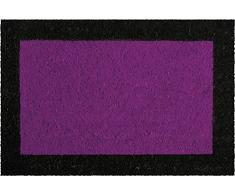 ID Mat 406024 - Felpudo de fibra de coco y PVC blanqueado, 60 x 40 x 1,5 cm, color morado con bordes negros