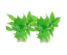 Sourcingmap Plástico Acuario Artificial Planta, de 3,5 pulgadas, 2 piezas, verde