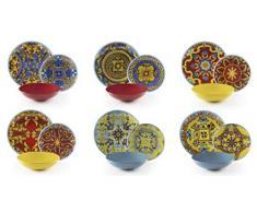 Excelsa Trinacria - Vajilla de 18 piezas, porcelana y cerámica