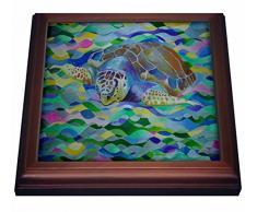 3dRose - Tortuga de cabeza de tronco – Día Mundial de la Tortuga, tortuga de mar de tronco, Caretta Caretta, cabeza de tronco, tortuga – remache con azulejos de cerámica, 8 por 8 pulgadas, cerámica, marrón,