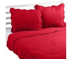 Linder Castille 0581/69/835/230 colcha con 2 fundas de almohada, algodón, 250 x 230 cm, rojo