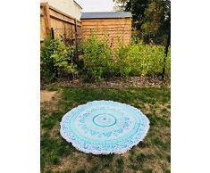 Bazzaree Tapiz de Playa Redondo con Mandala Bohemia, Hippie, tapete para Yoga, Redondo, algodón Turquesa, Verde y Blanco, 130 cm