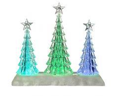 WeRChristmas Pre-Lit cambian de Color LED Musical árbol de Navidad escena decoración, acrílico, multicolor, 26 cm