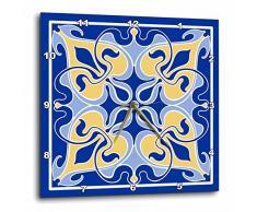 3dRose - Reloj de Pared (Aluminio, 38,1 x 38,1 cm), diseño de Azulejos de Arte Victoriano, Color Azul y Amarillo