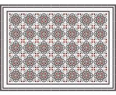 Multicolor VINILIKO Tribal Rojo Alfombra de Vinilo 50x100