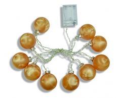 Guirnalda color y Weinberger guirnalda luminosa LED con 10 bolas de Navidad, sin pilas 3 x AAA batteriebbetrieben, cristal, 6 cm, juego de 1, oro 76820,31