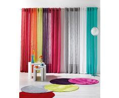 DOUCEUR DINTERIEUR 140 x 240 cm poliéster cortina traslúcida con arandelas de acuarela Uni Jacquard, Prune