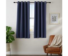 AmazonBasics - Juego de cortinas que no dejan pasar la luz, con ojales, 175 x 140 cm, Azul marino (Navy Blue)