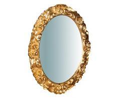 Biscottini - Espejo de Pared Estilo Shabby de Madera con Acabado de Hoja de Oro Envejecido. Medidas: 25 x 2,5 x 31 cm. Fabricación Artesanal Fiorentino. Fabricado en Italia.