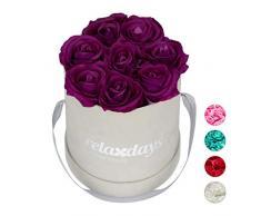 Relaxdays Rosas Artificiales, Caja de Flores Gris, 8 Unidades, Ramo Decorativo, Flower Box, Cartón-Tela-PP, Morado