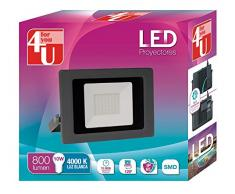 4U LED Proyector - Foco de Exterior de Potencia 10 W, Resistente al Agua con Protección IP65, Luz Blanca 4000K, Color Negro