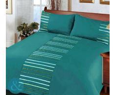 Just Contempo - Juego de funda nórdica y funda de almohada (poliéster), diseño a rayas, poliéster, azul turquesa/verde/plateado/blanco, funda de edredón cama individual (infantil)