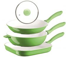 Alioth Mäser 4 piezas Juego de sartén anti-adherente 28 cm/28 cm, de aluminio fundido 2 mm, disponible en verde o naranja