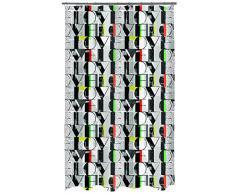 Spirella, Gris colección Pop Love, Cortina de Ducha Textil, 100% Polyester, Tela, 180 X 200 X Cm