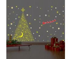 wallflexi pared trineo de Papá Noel con brilla en la oscuridad estrellas árbol de Navidad decoraciones pegatinas de pared murales adhesivos salón niños guardería escuela restaurante Cafe Hotel casa oficina decoración, Multicolor