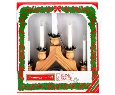 Konst Smide 2296-100 - Candelabro de madera con velas (5 bombillas transparentes, con interruptor, 230 V, para interiores), color natural