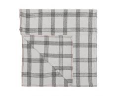Cala Living Manta Escocesa de Cuadros con Remallado Perimetral, Lana, Blanco y Granate, Individual, 170x130x3 cm