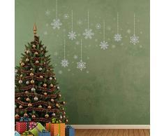 Decoración De Navidad Adhesivos de Pared Navidad Plateado Copos De Nieve Murales de pared adhesivos Cuarto De Estar Habitación Infantil Colegio HOTEL Decoración Hogar