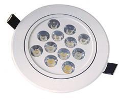 Manhattan Lights Value - Lámpara de techo (12 W, inclinable, cristal natural), color blanco y gris