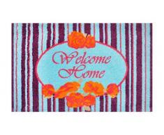 Alfombrilla LifeStyle 200540 Welcome Home, felpudo antideslizante y lavable, ideal para la entrada, el armario o la cocina, 50 x 75 cm, violeta / azul