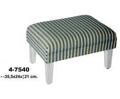 DRW - Set de 2 reposapiés de Madera y Textil Color Azul y Blanco 35,5x24x21 cm