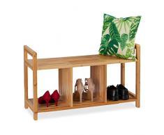 Relaxdays Banco Zapatero de 2 Plazas con 3 Compartimentos, Recibidor, Bambú, 56 x 95 x 36 cm, Marrón, Natural