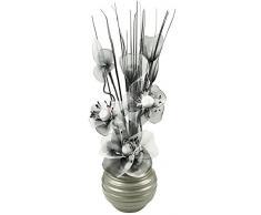 Broche de la flor Artificial en color gris aluminio florero, negro/blanco, 75 cm