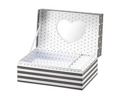 AMBITION - Joyero para Mujer, diseño de Rayas, 18 x 11 x 7,5 cm, joyero con Compartimentos, Espejo, Caja de Regalo, Elegante, Gris y Blanco