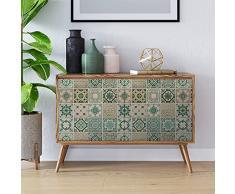 WALPLUS - Adhesivos de Pared (Vinilo, 7,6 x 63,5 x 3 cm), diseño de Azulejos Verdes