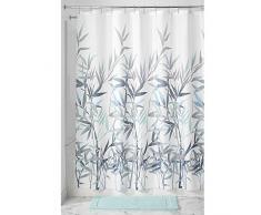 InterDesign Anzu Cortina de ducha   Cortina de baño lavable a máquina de 183 x 183 cm   Cortinas modernas con estampado floral para bañera o ducha   Poliéster verde menta/gris