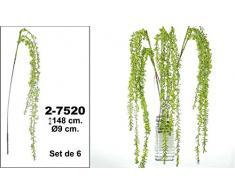 DonRegaloWeb DRW - Set de 6 varas de Flores Artificiales (Tipo Sauce llorón) Decoradas en Color Verde