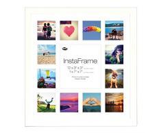 Inov8 16 x 40,64 cm Insta-Frame Marco de fotos de madera para Instagram 13/de estampado a cuadros de fotos con paspartú blanco y blanco con borde, 2 unidades, blanco